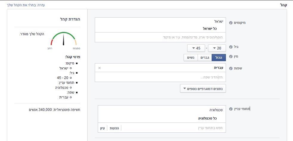 ניהול קמפיין פייסבוק - מיקוד
