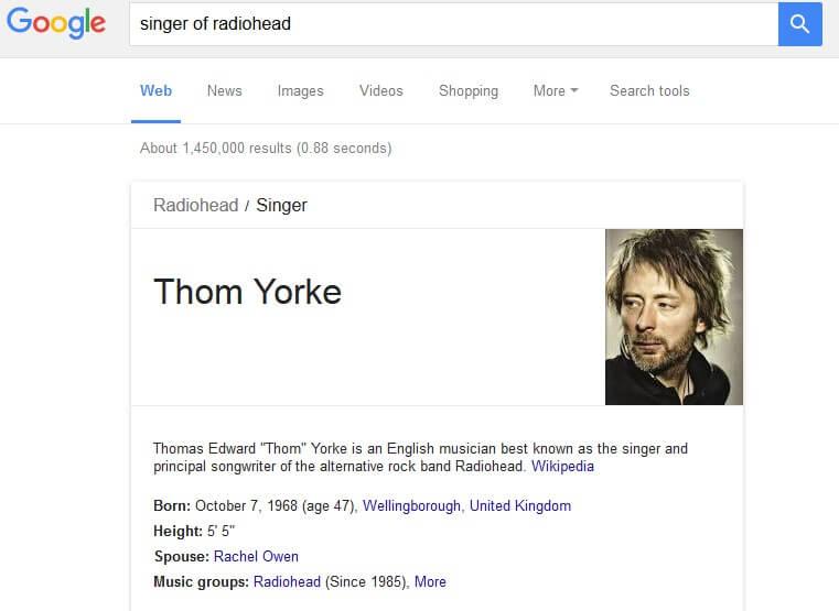 גרף הידע של גוגל - דוגמה