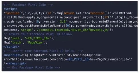 פיקסל פייסבוק - קוד בסיסי