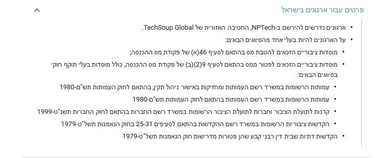 תכנית המענקים של גוגל לעמותות בישראל
