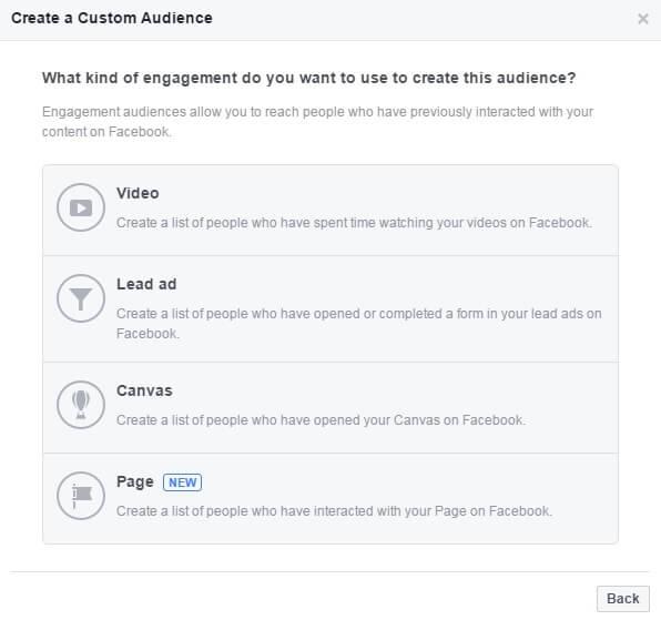 קהלים מותאמים אישית לפי מעורבות בדף פייסבוק