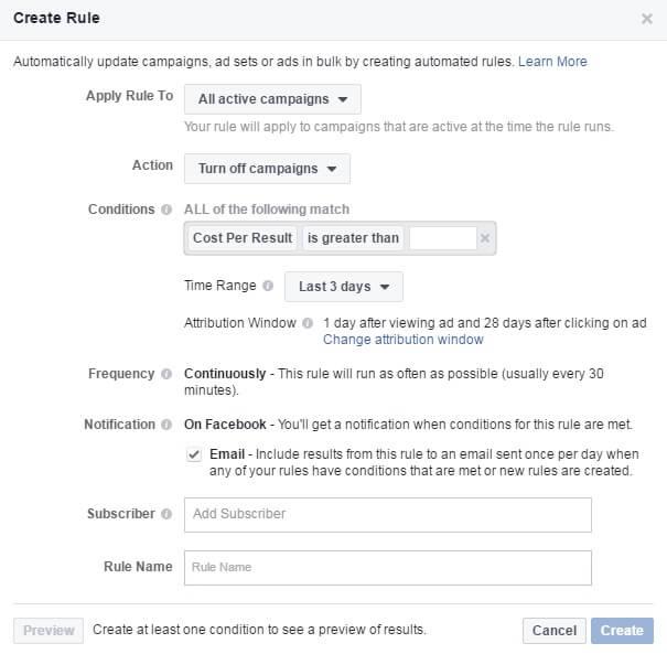 פייסבוק כללים אוטומטיים - צילום מסך