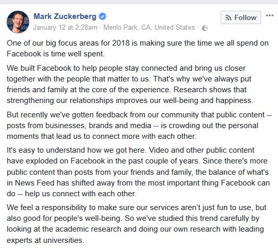 עדכון ניוזפיד בפייסבוק ינואר 2018