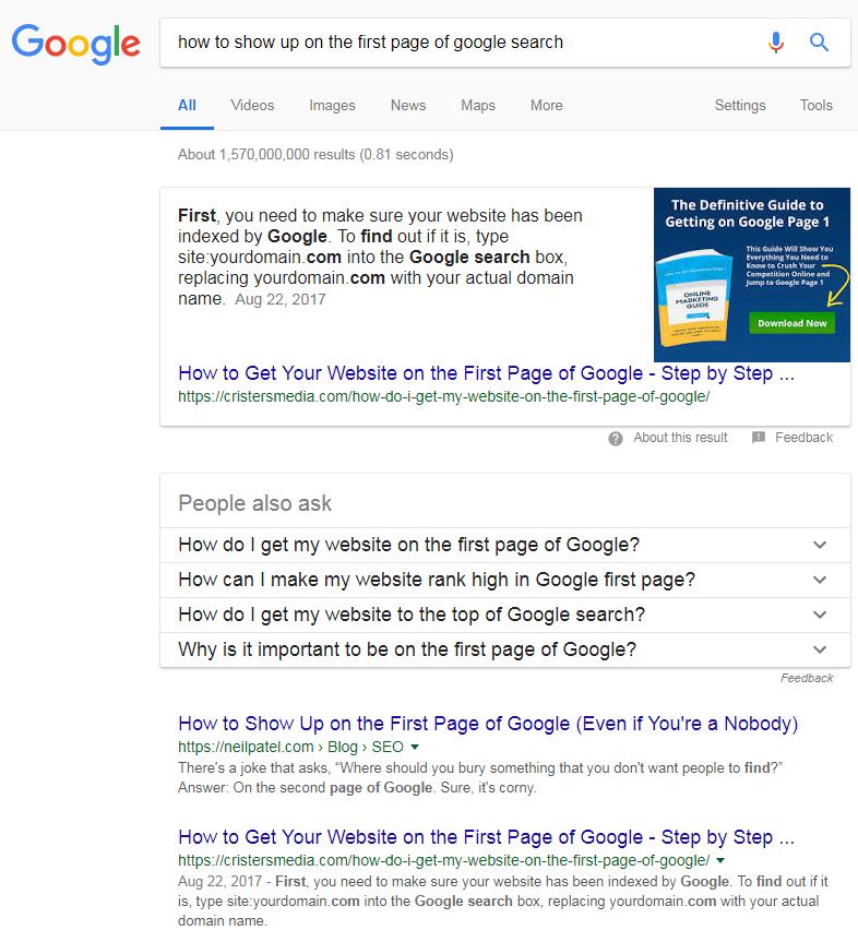 חברה לקידום אתרים – דוגמה