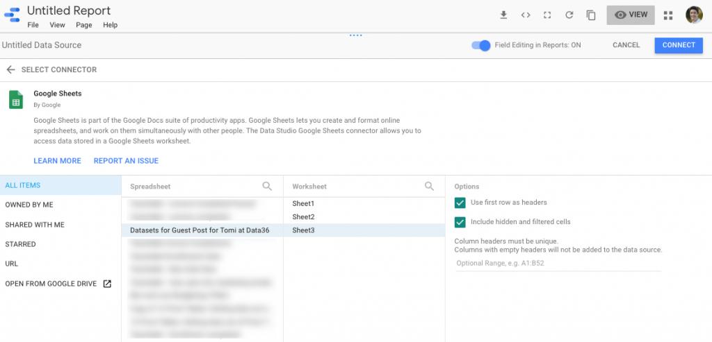 גוגל דאטה סטודיו – חיבור מקור נתונים