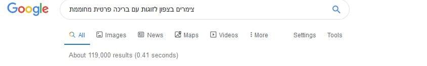 גוגל אורגני - מס' תוצאות