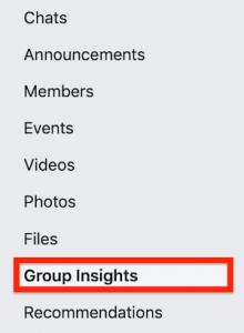 Insights in facebook menu
