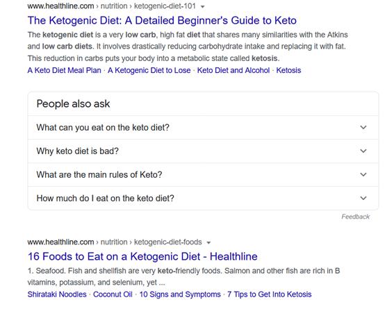 תוצאות חיפוש בגוגל - דיאטת קטו