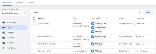 גוגל תג מנג'ר - תגיות (tags)